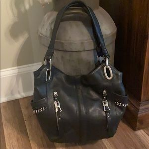 Black Hobo Purse with Silver metal detail